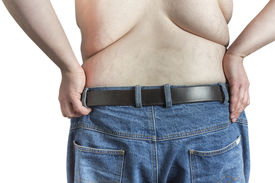 image of bulging belly  - Back of a shirtless overweight Man with hands on his hips - JPG