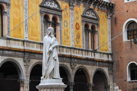 foto of alighieri  - Monument of Dante Alighieri on the Piazza della Signoria in Verona Italy - JPG