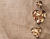 pic of brazil nut  - Portion of healthy Brazil Nuts as detailed close - JPG