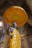picture of hindu temple  - statue of hindu god inside a khmer temple - JPG