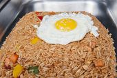 pic of chinese restaurant  - Closeup of Indonesian Nasi Goreng meal on display at a chinese restaurant buffet - JPG