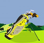 foto of golf bag  - an illustration of a set of golf clubs some in head covers some without in a yellow golf bag on the grass in the mountains - JPG