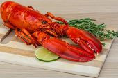foto of lobster tail  - Red boiled lobster with thyme and rosemary - JPG