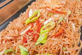 picture of chinese restaurant  - Closeup of chinese stir fried noodles on display at a hotel restaurant buffet - JPG