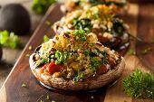 stock photo of portobello mushroom  - Homemade Baked Stuffed Portabello Mushrooms with Spinach and Cheese - JPG