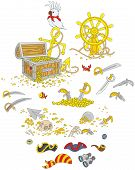 picture of pistols  - Vector illustrations of a treasure chest - JPG