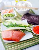 picture of redfish  - ingredient for sushi on the wooden table - JPG