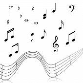 picture of clefs  - treble clef musical signs on a white background with reflection - JPG