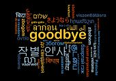 pic of goodbye  - Background concept wordcloud multilanguage international many language illustration of goodbye - JPG