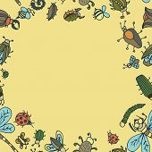 stock photo of summer insects  - Cute cartoon insect border pattern - JPG