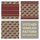 stock photo of stitches  - Stitched seamless pattern set with silhouette of dog - JPG