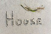 foto of beach-house  - Conceptual image indicating a beach house by writing the word  - JPG
