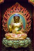 pic of gold tooth  - Detail from the Buddha Tooth Relic Temple in Singapore - JPG