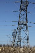 image of hydro  - Tall Hydro towers against a blue sky - JPG