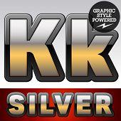 foto of letter k  - Vector set of gradient silver font with black border - JPG
