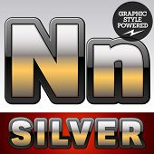 stock photo of letter n  - Vector set of gradient silver font with black border - JPG