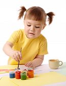 Cute Child Play With Paints