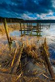 image of pier a lake  - Small pier on lake beautiful long exposure photo - JPG
