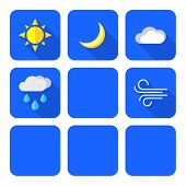 stock photo of windy weather  - vector colored outline weather forecast icons set white background - JPG
