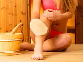 pic of sauna woman  - Spa beauty treatment and health concept - JPG
