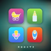 image of buggy  - Four icons in relation to a Baby born time / Baby care objects pictured here from left to right top to bottom: 