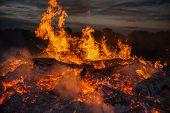 picture of bonfire  - landscape with bonfire - JPG