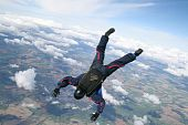 Skydiver dives down