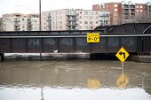 picture of underpass  - A flooded 9 underpass on a cloudy day in the Chicago area - JPG
