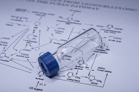 picture of chromatography  - Sample vial on paper with chemical formula - JPG
