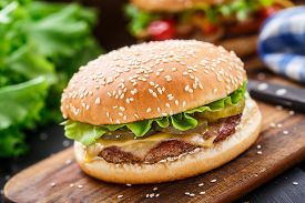picture of burger  - Chicken burger with pickles - JPG