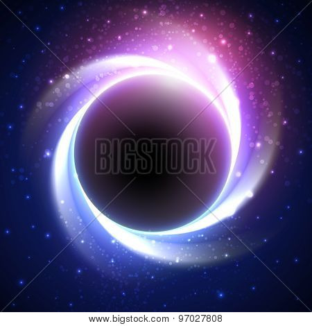 Beautiful Eclipse In A Distant Galaxy Vector Background Poster Id