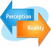 picture of perception  - Business strategy concept infographic diagram illustration of Perception Reality point of view - JPG