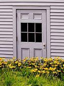 Grey Door With Flowers