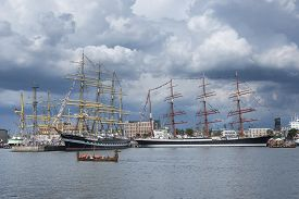 foto of historical ship  - Historic ships in Gdynia harbor Poland .