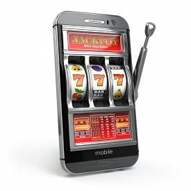foto of poker machine  - Online casino concept - JPG