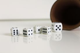 stock photo of augen  - Spiel luck wuerfel dice number game play - JPG