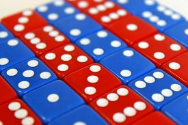 stock photo of augen  - Wuerfel Spiel game play dice rot blau number - JPG