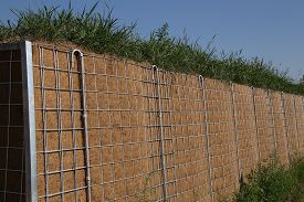 pic of noise pollution  - View of a noise protection wall on a street - JPG