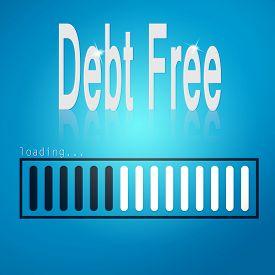 foto of debt free  - Debt free blue loading bar image with hi - JPG