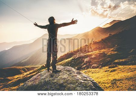 poster of Happy Man raised hands at sunset mountains Travel Lifestyle emotional concept adventure summer vacations outdoor hiking mountaineering harmony with nature