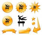 Pommel Horse Icon on Orange Burst Banners and Medals Original Vector Illustration