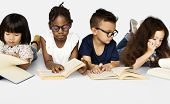 Diverse Group Of Kids Study Read Book poster