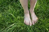 The grass is always greener : A pair of feet standing on lush green grass