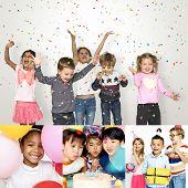 People Set of Diversity Kids Enjoy Party Studio Collage poster