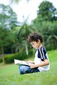 Young boy engross in reading his book in a park