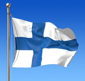 Flag of Finland against blue sky. 3d illustration.