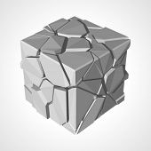 Broken cube vector illustration. Eps 10.
