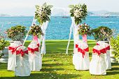 picture of wedding arch  - Gate for a wedding on a tropical beach - JPG