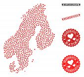 Collage Map Of Scandinavia Created With Red Love Hearts, And Grunge Watermarks For Dating. Vector Lo poster