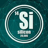 Silicon Chemical Element. Sign With Atomic Number And Atomic Weight. Chemical Element Of Periodic Ta poster
